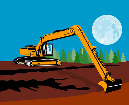 earth mover: Excavator with moon in the background Illustration