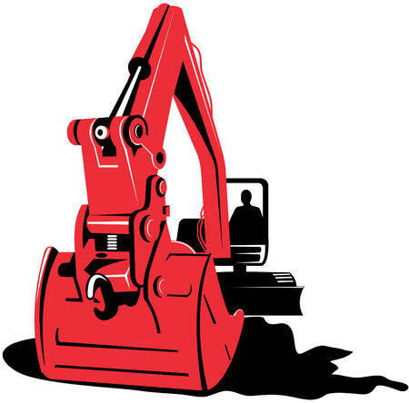 excavation: Mechanical digger on white