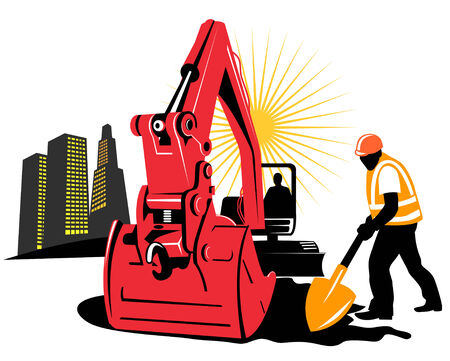 Mechanical Digger with construction worker Vector