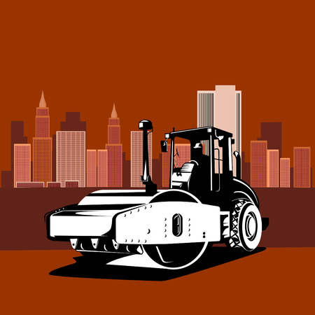 roadworks: Road roller with buildings