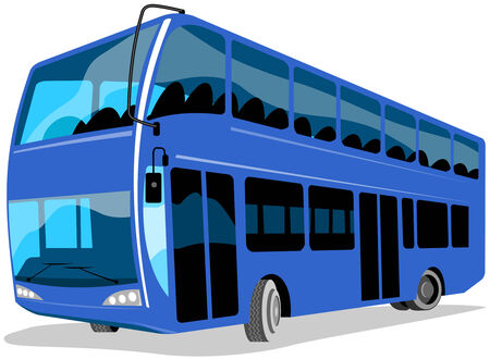 double decker: Blue double decker bus