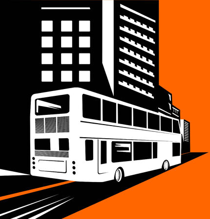Double decker bus with buildings