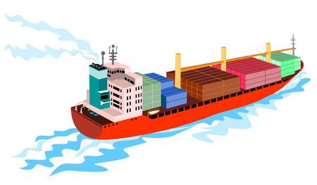 containerschip: Container schip op witte achtergrond Stock Illustratie