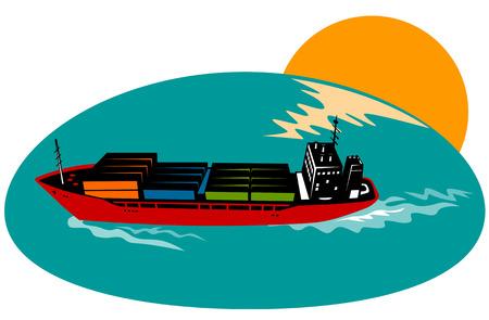 containerschip: Container schip Stock Illustratie