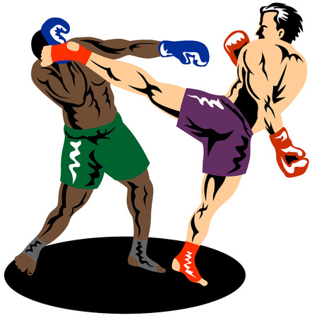 male boxer: Kick boxing Illustration