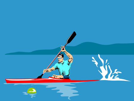 Athlete paddling on a kayak Vector