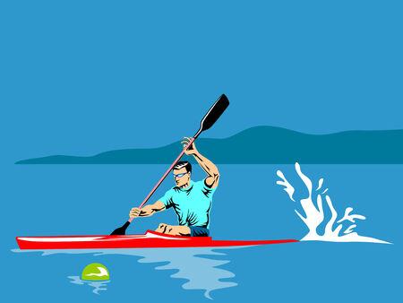 pirag�ismo: Deportista remando en un kayak