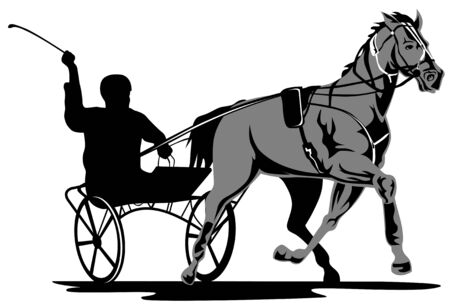 horse cart: Harness racing Illustration