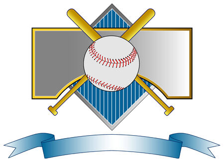baseball diamond: B�isbol cresta con bate y pelota
