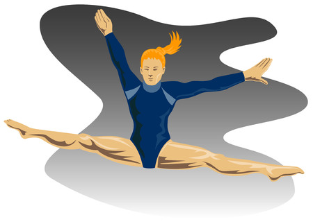female athletes: Gymnast jumping front