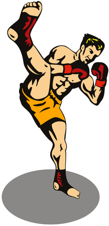 kick boxing: Kick boxer kicking front