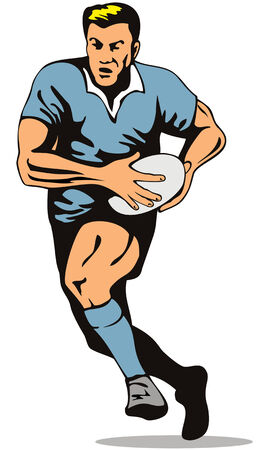 rugby player: Rugby player running with the ball