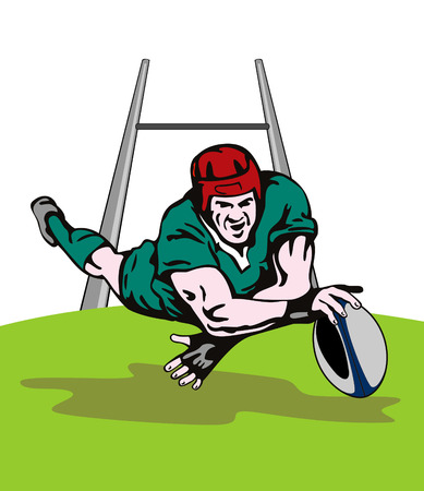 Rugby player diving to score between the post Stock Vector - 2732707