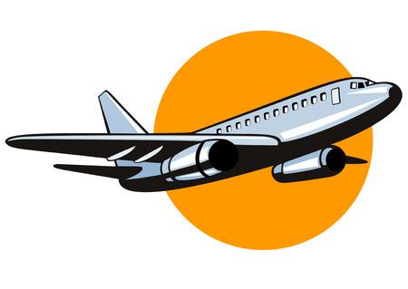 ジャンボ ジェット機の飛行機が飛び立つ  イラスト・ベクター素材