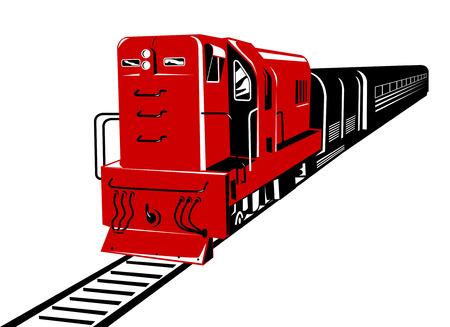 diesel train: Red diesel train