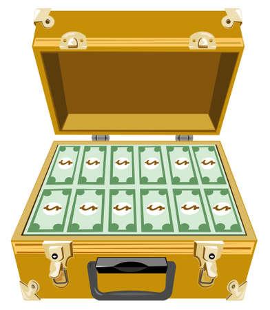attache: Gold briefcase with money