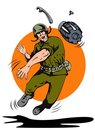Soldier het gooien van een granaat in front Vector Illustratie
