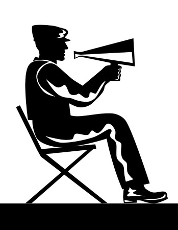 bullhorn: Director with bullhorn Illustration