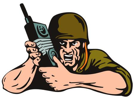 cartoon soldat: Soldat mit Radio, die isoliert auf weiß