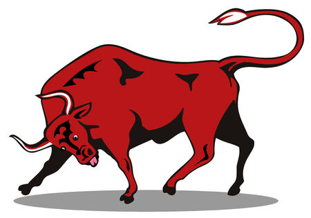 charging bull: Attacking red bull