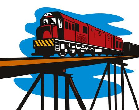 diesel train: Diesel train corssing a bridge