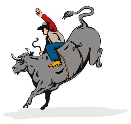 ロデオ カウボーイ牛に乗って