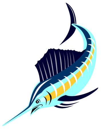pez espada: Pez vela en fondo blanco