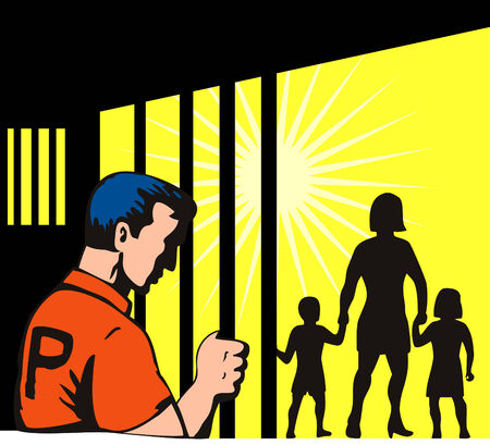 Prisoner behind bars with  outside Stock Vector - 2853797