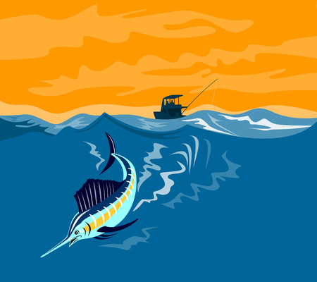 sailfish: Sailfish diving with boat in background