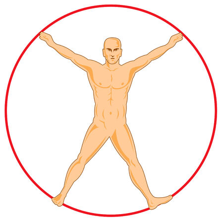 vitruvian: Human figure spreadeagle Illustration