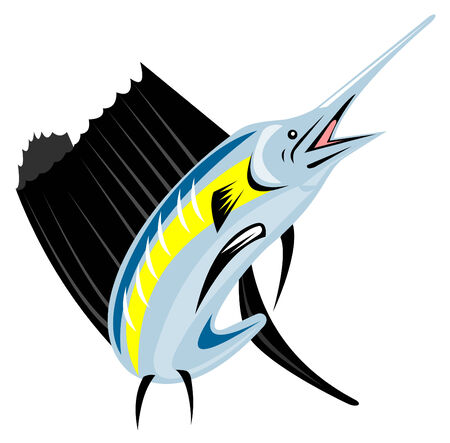 sailfish: Sailfish jumping Illustration