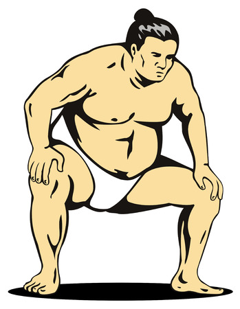 Sumo wrestler in fighting stance