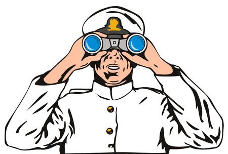 kijker: Marine kapitein met verrekijker