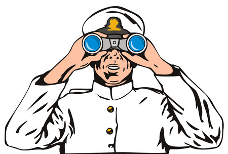 military watch: Navy captain with binoculars