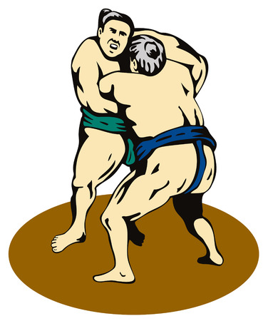 grappling: Sumo wrestlers grappling Illustration