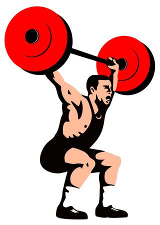 snatch: Weightlifter lifting weights