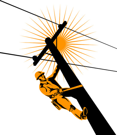 Lineman working on a utility pole