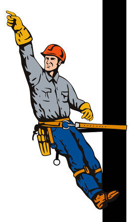 lineman: Lineman working on a utility pole