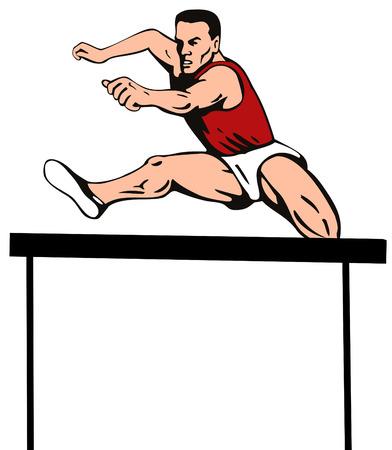 hurdle: Athlete jumping a hurdle