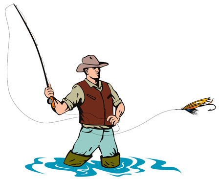 recreational fishermen: Fly fisherman casting his line