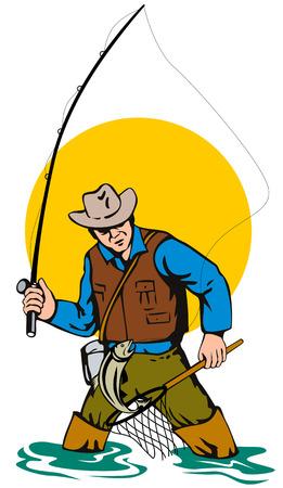 マスをキャッチ漁師を飛ばす  イラスト・ベクター素材