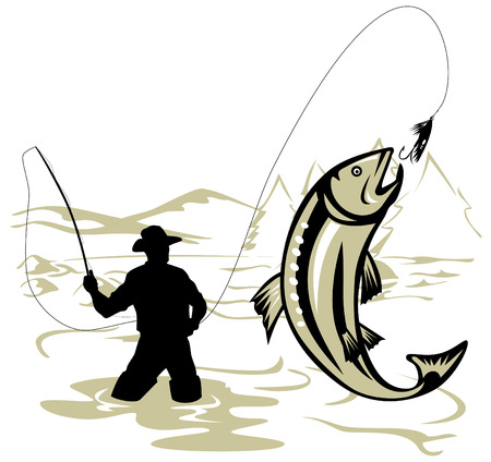 anglers: Fly Fisherman catching a leaping trout Illustration