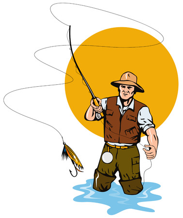 trout fishing: Fly Fisherman catching a trout