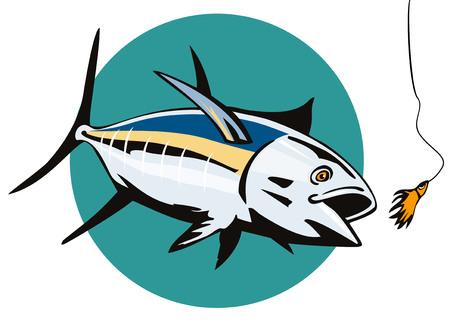 hooking: Albacore Tuna taking the bait Illustration