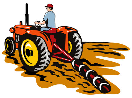 farm land: Tractor plowing the farm