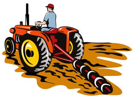 ploegen: Trekker ploegen van de boerderij  Stock Illustratie