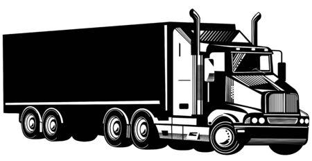 transporte de mercancia: Camiones aislados en fondo blanco