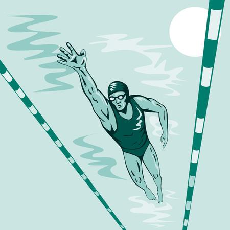 Olympische Zwemmer Vector Illustratie