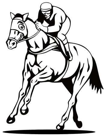 thoroughbred: Horse and jockey on a winning run Illustration