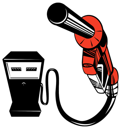 petrol station: Gasoline pump nozzle pointing at you